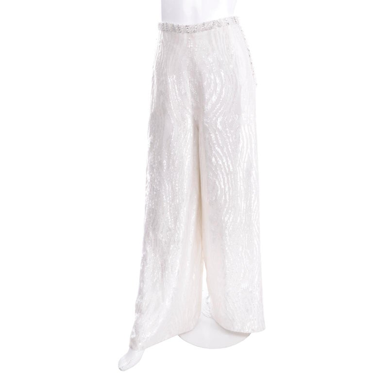 Natalie Cole 1970s White Beaded Evening Outfit W Pants Bustier Shrug & Headband For Sale 4