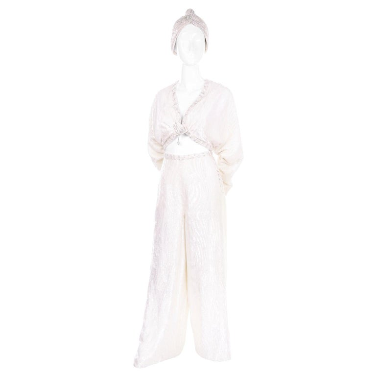 Natalie Cole 1970s White Beaded Evening Outfit W Pants Bustier Shrug & Headband For Sale