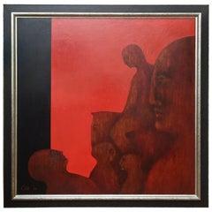"Natalie Cole Signed Oil on Board Painting ""Lady Godiva"" Vintage"