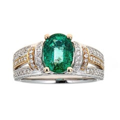 Natalie K. 1.30 Carat Emerald and Diamond Ring in 18 Karat Two-Tone Gold