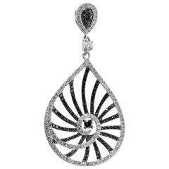 Natalie K 14 Karat White Gold Black and White Diamond Openwork Teardrop Pendant