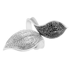 Natalie K 14 Karat White Gold Black and White Diamond Pave Leaf Ring