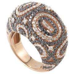 Natalie K 18 Karat Rose Gold Black and White Diamond Cocktail Ring LF8-33874R