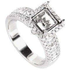 Natalie K, .89 Carat 18 Karat White Gold Diamond Engagement Ring Mounting