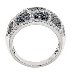 Natalie K. Black and White Diamond 14 Karat White Gold Ring