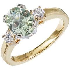 Natalie K Natural Green Sapphire Diamond Gold Three-Stone Engagement Ring