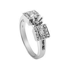 Natalie K Trois Diamants 14 Karat White Gold Diamond Engagement Ring Mounting