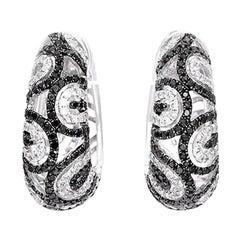 Natalie K White Black and White Diamond Gold Swirl Hoop Earrings