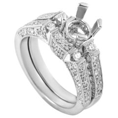 Natalie K Women's 14 Karat White Gold Diamond Bridal Mounting Set SM4-12625W
