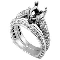 Natalie K Women's 14 Karat White Gold Diamond Bridal Mounting Set SM4-12968W