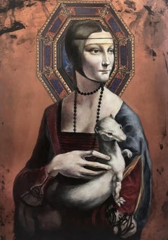 Lady with an ermine with ornamental panel