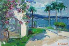 Bodrum - Landscape Oil Painting Colors Red White Blue Black