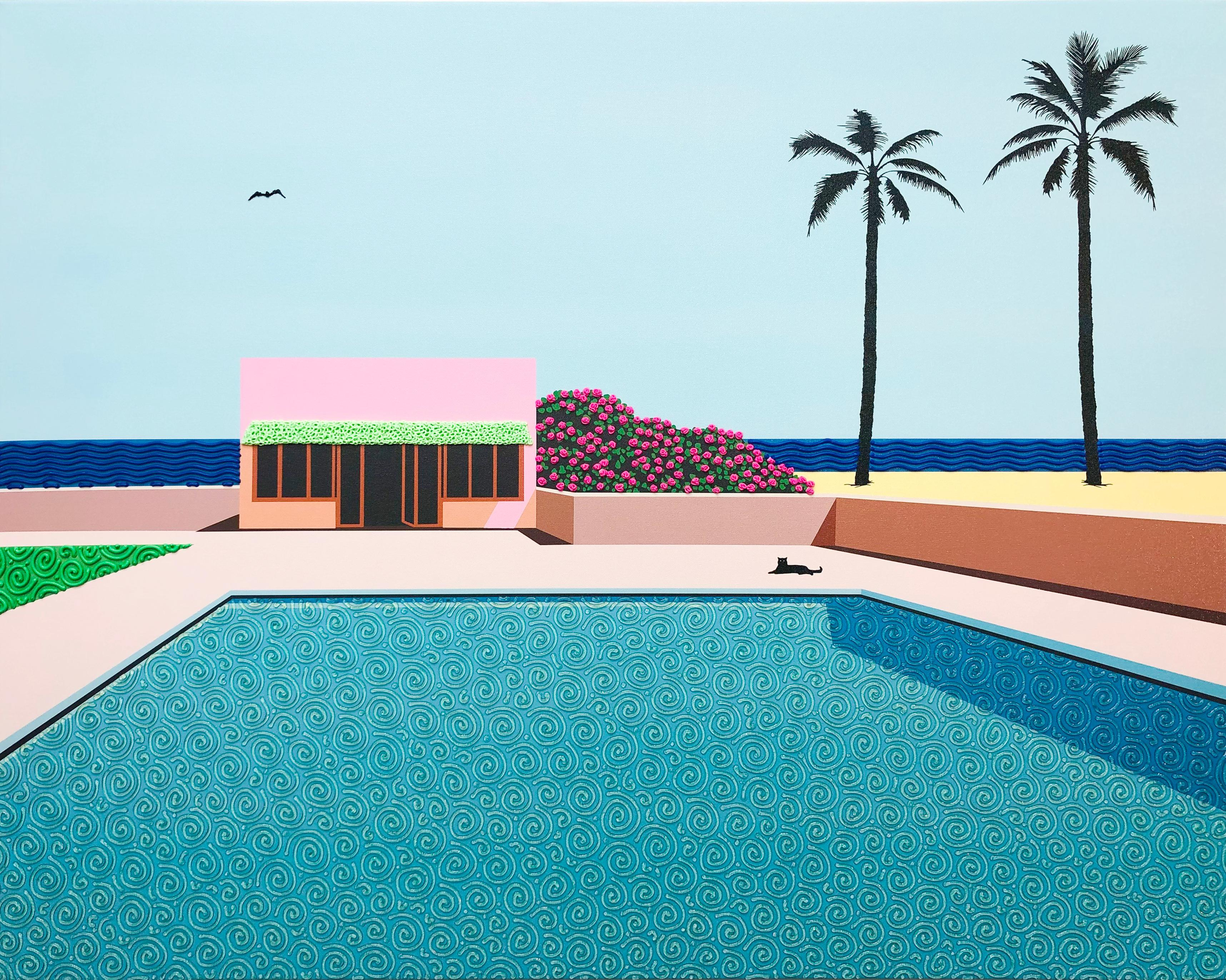 Bird over pink house - landscape painting