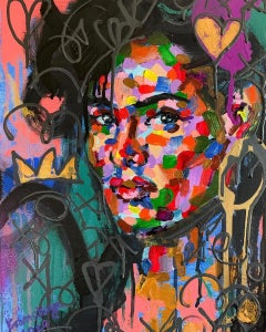 Lola - Contemporary Figurative Painting of a Women (Blue+Orange+Red+Black)