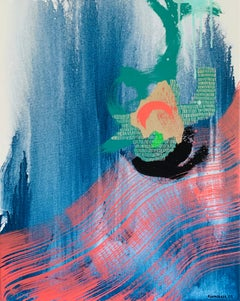 Together- Abstract Acrylic on Canvas, Blue, Green, Pink