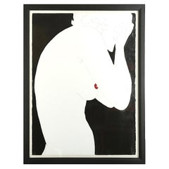 """Natasha Law 'Born 1970', """"Red Dot"""" Glossy Household Paint and Ink on Paper"""