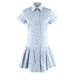 Natasha Zinko Light Blue Jaquard Animal Print Dress XS 34R
