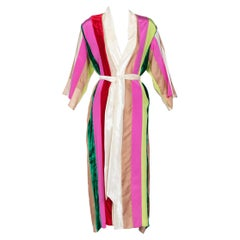 Natasha Zinko Multicolor Silk Velvet Stripe Ribbon Robe Dress, 2015