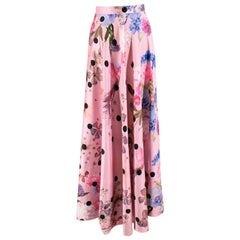 Natasha Zinko Pink Satin Floral Midi Skirt - Size US 0-2