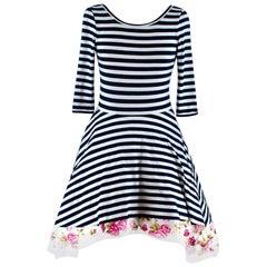 Natasha Zinko Striped Dress with Tulle Underskirt - Size US 0-2