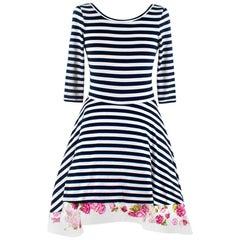Natasha Zinko Striped Low-Back Dress with Tulle Underskirt XXS 34