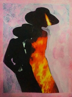 """""""Burning Woman, #2250"""", Collage on paper, 2018"""