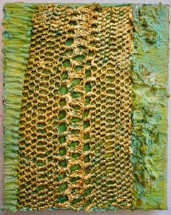 Tactile memory #66 One of a kind, Silk Fabric, Oil, Gold Leaf on Canvas