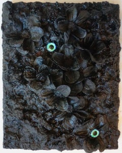 Tactile memory #84 One of a kind, Silk Flowers, Acrylic, Oil, Glass on Canvas