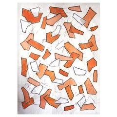 Nathalie Fontenoy French Artist, Paper Collage, Fragment # 4, Orange Suite