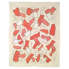 Nathalie Fontenoy French Artist, Paper Collage, Fragment # 4, Rose-Pink