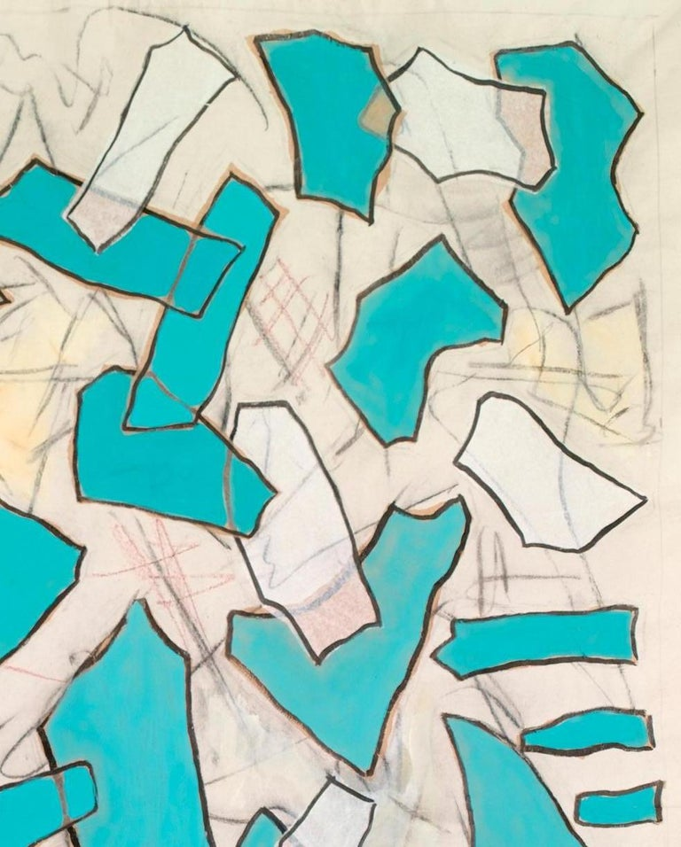 Other Nathalie Fontenoy French Artist, Paper Collage, Fragment N°# 5, Turquoise For Sale