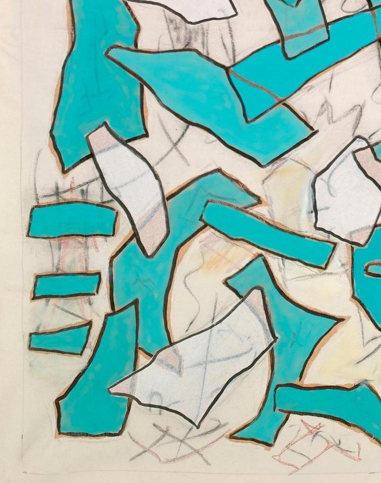 Nathalie Fontenoy French Artist, Paper Collage, Fragment N°# 5, Turquoise In Excellent Condition For Sale In Paris, France