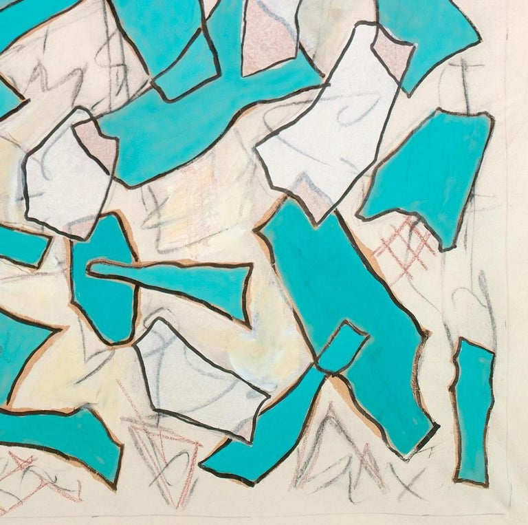 Contemporary Nathalie Fontenoy French Artist, Paper Collage, Fragment N°# 5, Turquoise For Sale