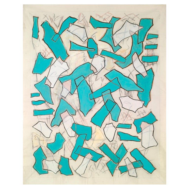 Nathalie Fontenoy French Artist, Paper Collage, Fragment N°# 5, Turquoise For Sale