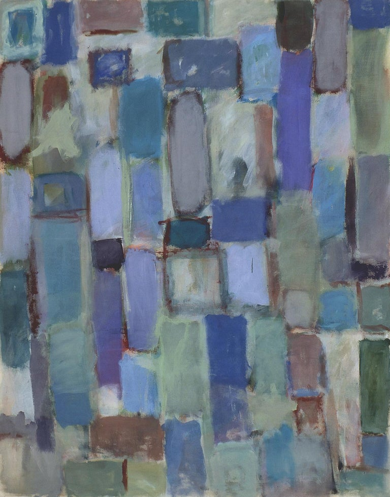"""Nathalie Fontenoy  Abstract Painting - French Artist, Lizica - Delaunay  Series Bord à Bord #6 """"blue"""""""