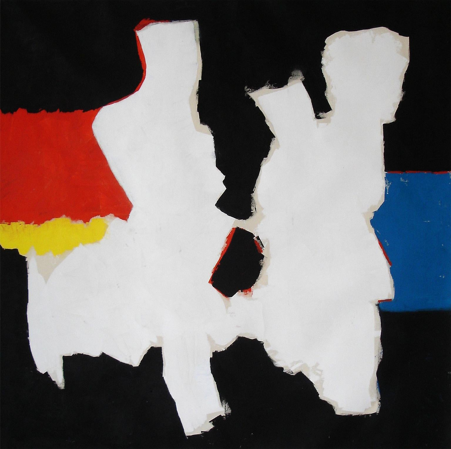 """Nathalie Fontenoy French Artist Painting on Canvas""""Formes Blanches"""" White Shapes"""