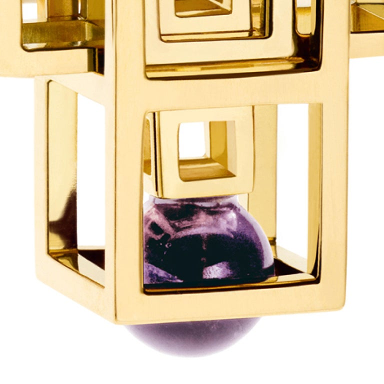 Round Cut Nathalie Jean 0.05 Carat Diamond Amethyst Yellow Gold Cocktail Fashion Ring For Sale