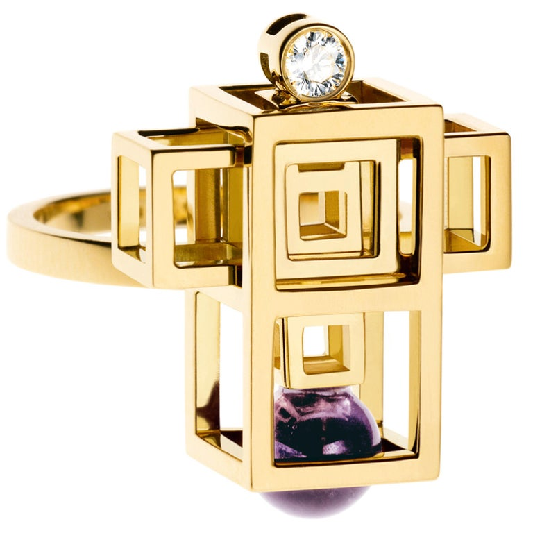 Nathalie Jean 0.05 Carat Diamond Amethyst Yellow Gold Cocktail Fashion Ring In New Condition For Sale In Milan, Lombardia