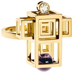 Nathalie Jean 0.05 Carat Diamond Amethyst Yellow Gold Cocktail Fashion Ring