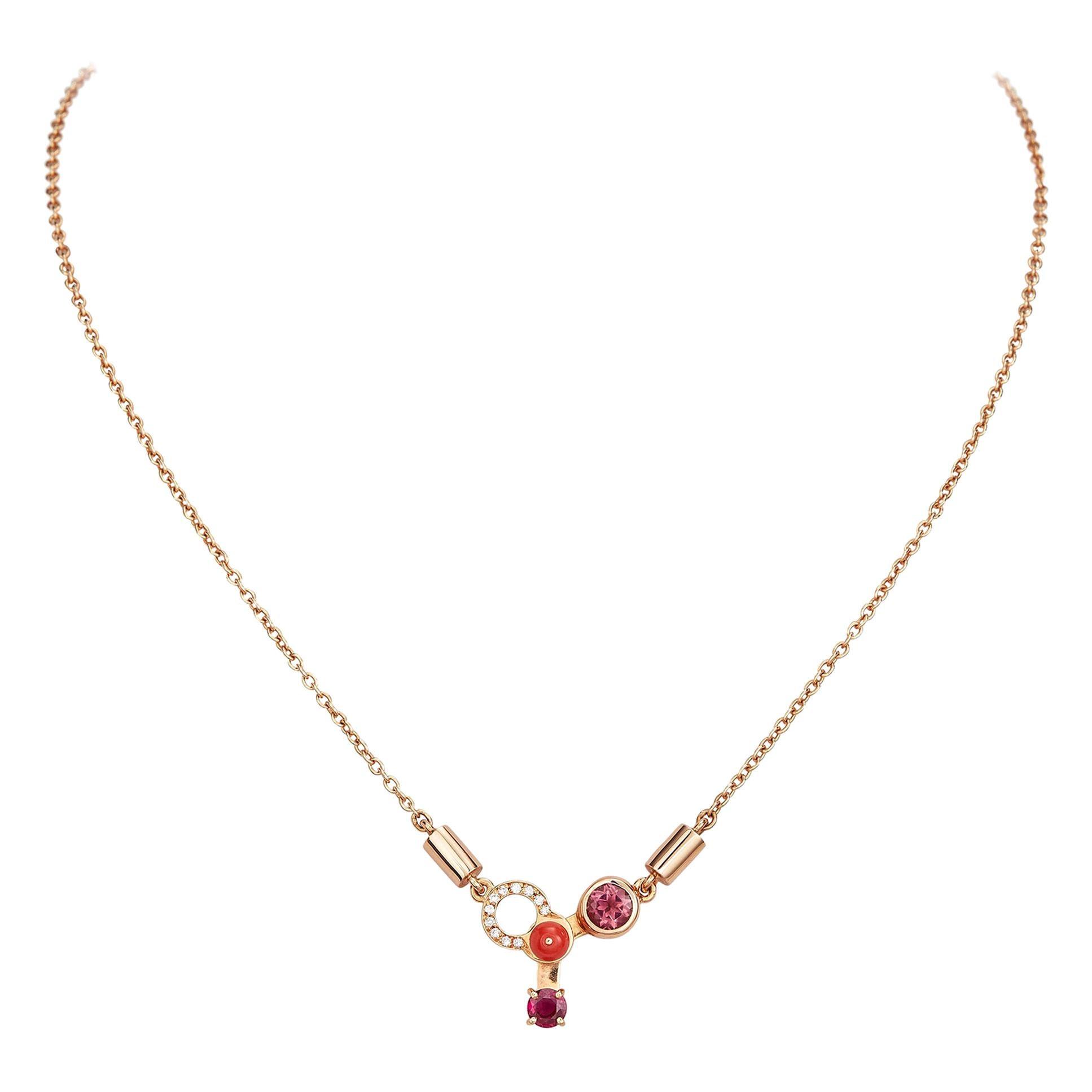 Nathalie Jean 0.06 Carat Diamond Ruby Tourmaline Carnelian Gold Pendant Necklace