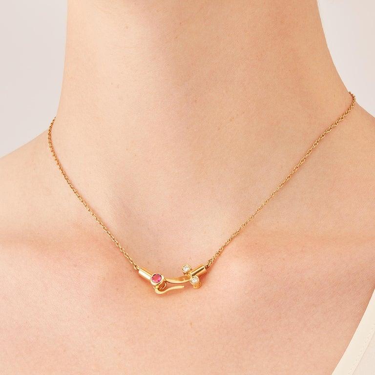 Contemporary Nathalie Jean 0.1 Carat Diamond Tourmaline Gold Drop Dangle Pendant Necklace For Sale