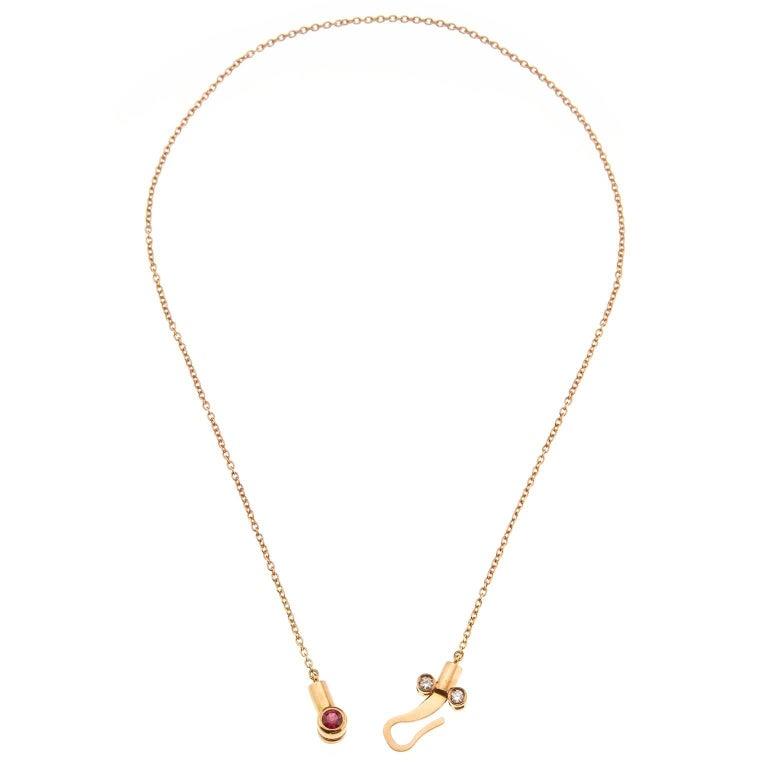 Round Cut Nathalie Jean 0.1 Carat Diamond Tourmaline Gold Drop Dangle Pendant Necklace For Sale
