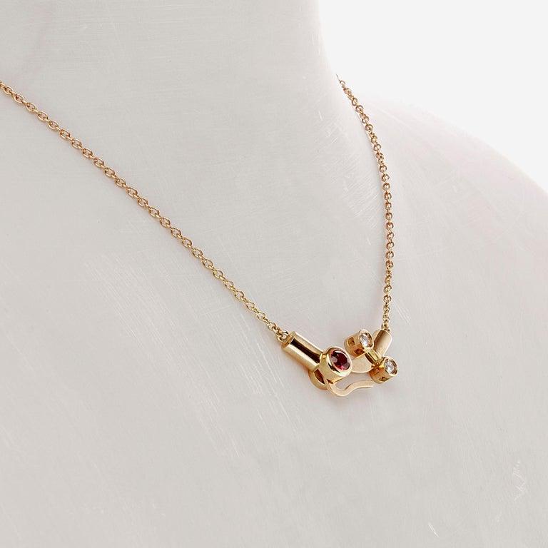 Women's or Men's Nathalie Jean 0.1 Carat Diamond Tourmaline Gold Drop Dangle Pendant Necklace For Sale