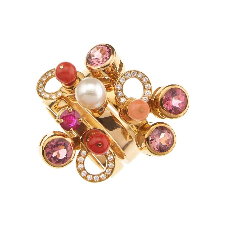 Contemporary Nathalie Jean 0.165 Carat Diamond Ruby Tourmaline Pearl Carnelian Gold Rings For Sale