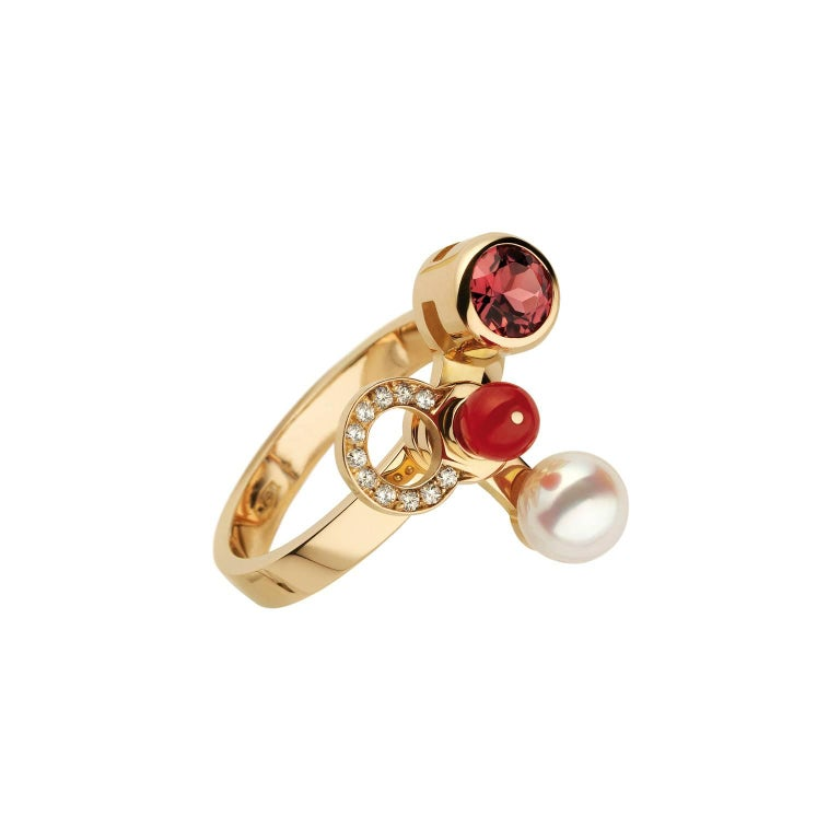 Round Cut Nathalie Jean 0.165 Carat Diamond Ruby Tourmaline Pearl Carnelian Gold Rings For Sale