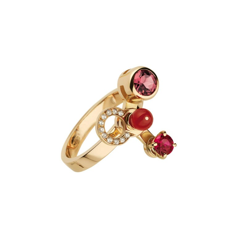 Nathalie Jean 0.165 Carat Diamond Ruby Tourmaline Pearl Carnelian Gold Rings In New Condition For Sale In Milan, Lombardia