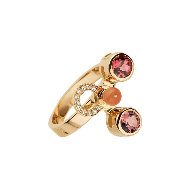 Women's or Men's Nathalie Jean 0.165 Carat Diamond Ruby Tourmaline Pearl Carnelian Gold Rings For Sale