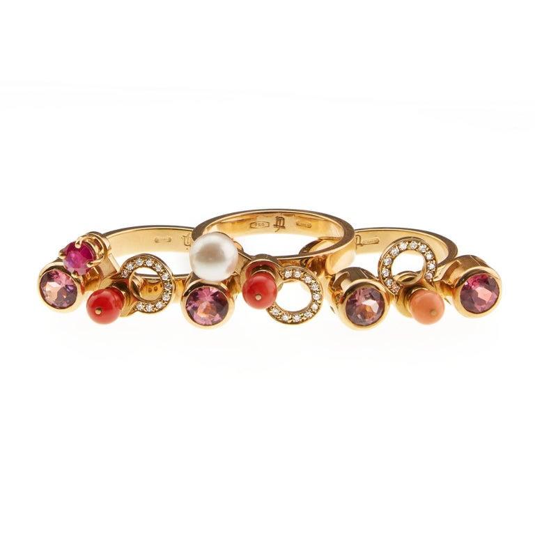 Nathalie Jean 0.165 Carat Diamond Ruby Tourmaline Pearl Carnelian Gold Rings For Sale 1