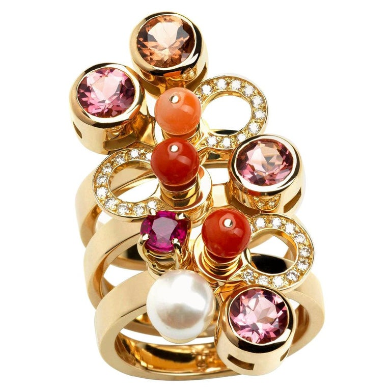 Nathalie Jean 0.165 Carat Diamond Ruby Tourmaline Pearl Carnelian Gold Rings For Sale