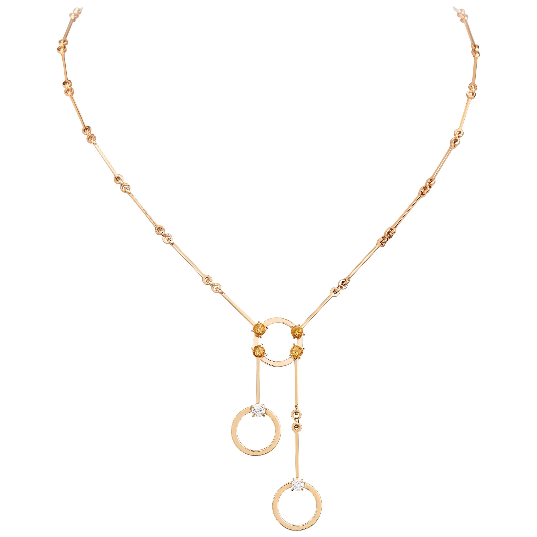 Nathalie Jean 0.2 Carat Diamond 0.41 Carat Citrine Gold Drop Pendant Necklace